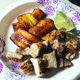 Sweet plantains with seared pork chops